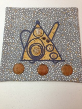 """My Family Teapot 12""""x 12"""" made for the  SAQA 2014 Benefit Auction"""